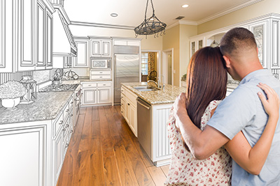 Couple imagining a home
