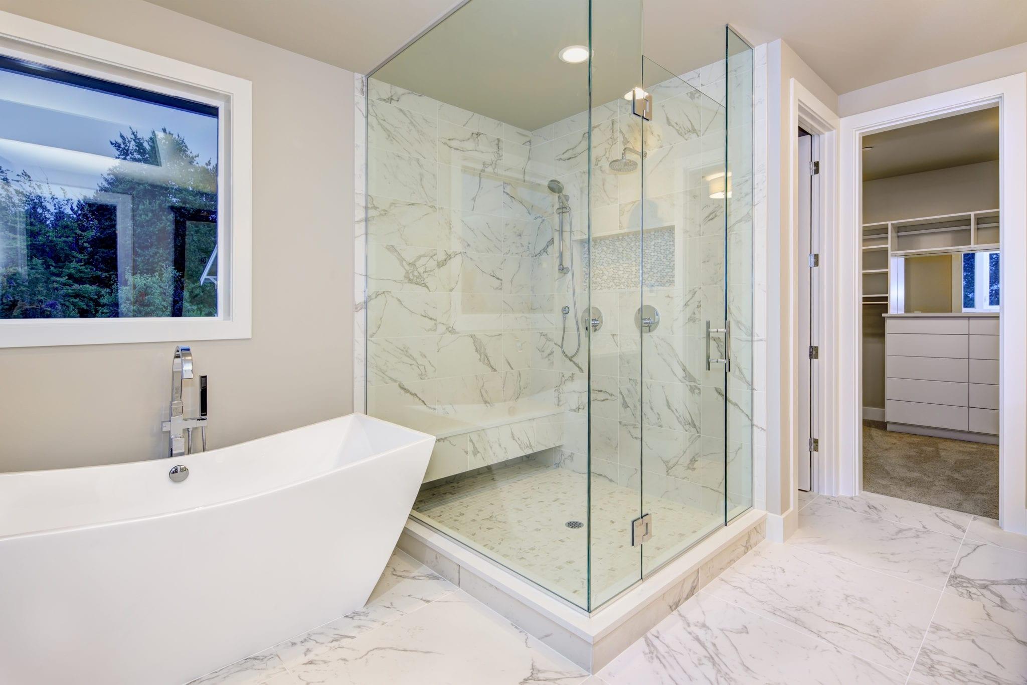 walk-in shower stall